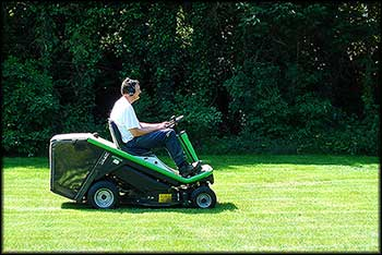 Photo of mowing a lawn